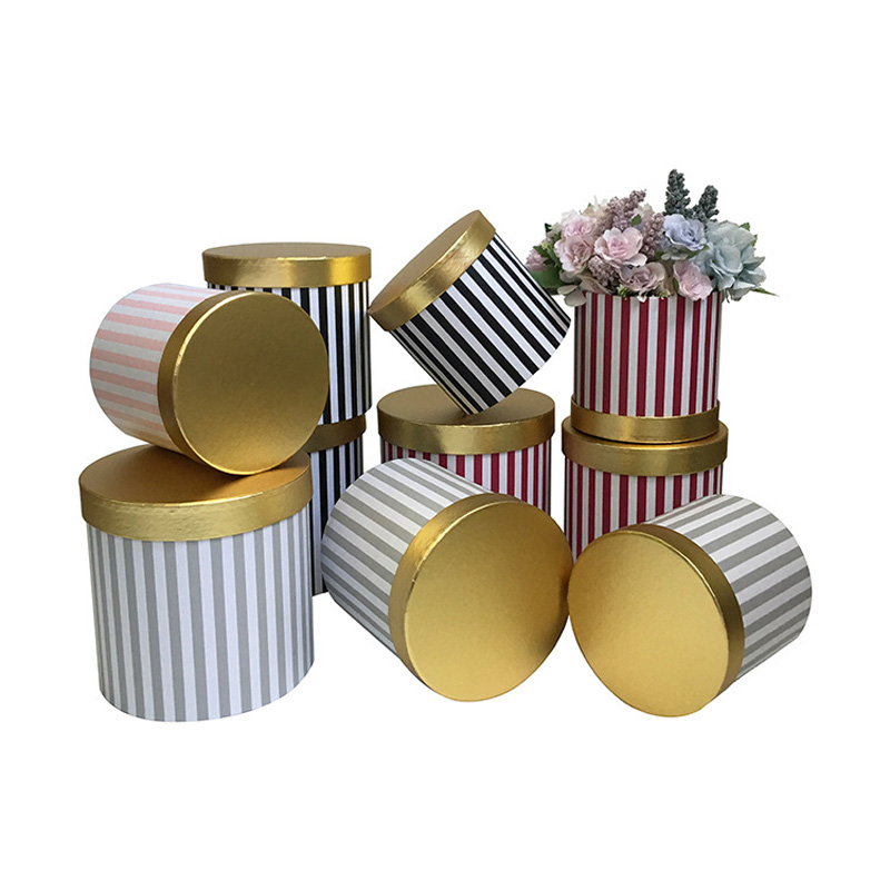 Gold Covered Striped Flower Box Rose Valentine 39 s Day Party Holiday Box Wedding Party Decoration Gift Box Round Gift Box Christma in Gift Bags amp Wrapping Supplies from Home amp Garden