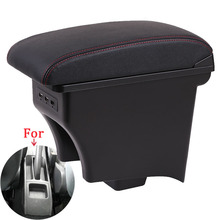 For Volkswagen POLO Armrest Retrofit parts For VW POLO AMEO Car Armrest box Storage box car accessories Interior with USB LED