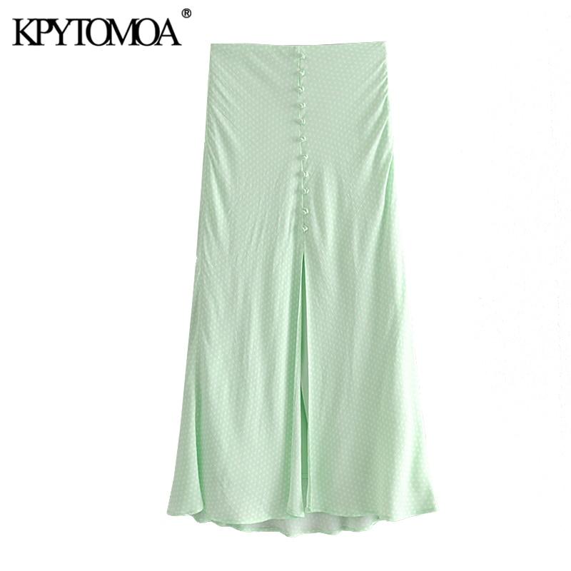 KPYTOMOA Women 2020 Chic Fashion Polka Dot Button Detail Midi Skirt Vintage High Waist Front Vent Female Skirts Faldas Mujer