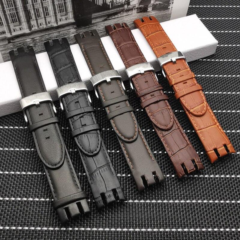 Bracelet de montre en cuir véritable 21mm, qualité supérieure, boucle ardillon, pour Swatch YRS403 401 402G 412 413 418