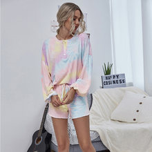 Повседневная Свободная Домашняя одежда с разноцветным принтом