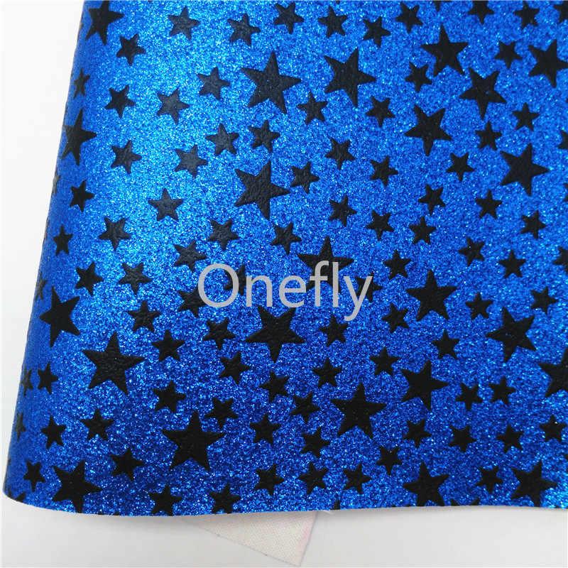 Onefly Sterren Gedrukt Blauw Glitter Leer, faux Lederen Glitter Stof Vellen Mini Rolls Voor Bow Diy Handtassen Schoenen 16-1-12