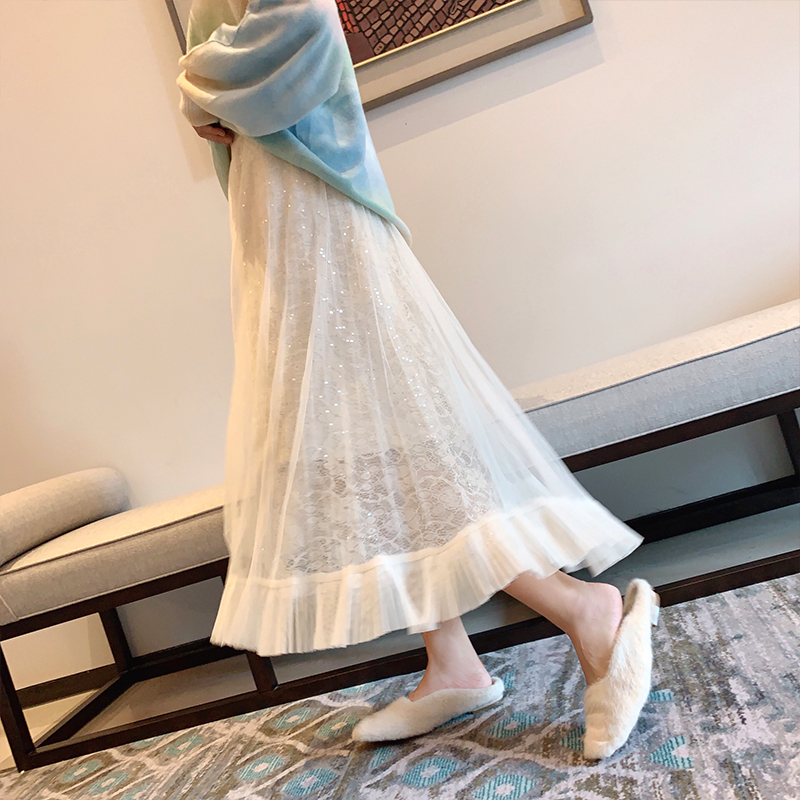 Mishow 2019 Autmn Lady Lace Skirt Women Fashion High Waist Vintage Loose Skirt MX19D1865