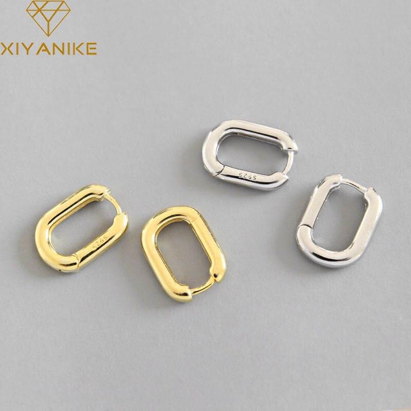XIYANIKE минималистский 925 стерлингового серебра серьги-гвоздики, серьги в ретро стиле, с геометрическим узором в форме эллипса серьги ручной р...