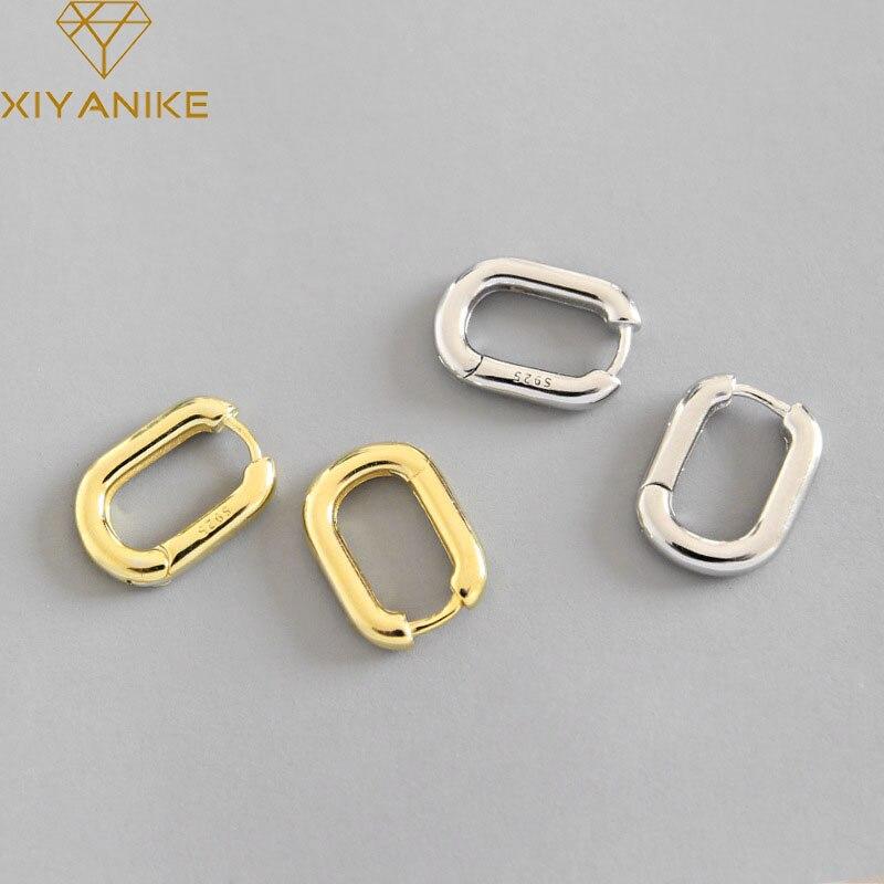 XIYANIKE Minimalist 925 Sterling Silver Stud Earrings Vintage Geometric Ellipse Handmade Earrings Party Accessories Jewelry Gift