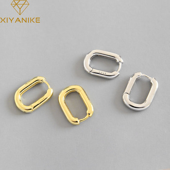 XIYANIKE Minimalist 925 Sterling Silver Stud Earrings Vintage Geometric Ellipse Handmade Earrings Party Accessories Jewelry Gift