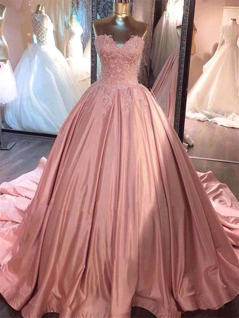 Sexy Strapless Ball Gown   Evening     Dress   Pink Lace Appliques Long   Evening     Dress   Dubai Lebanon Formal Party   Dress   vestidos largo