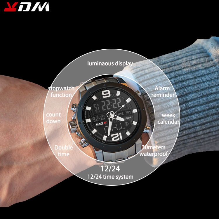 Multi Function Men Watch Sports Running Hiking Outdoor Dual Display Reloj Hombre Steel Clasp Band Lumination Relojes Hombre 2019