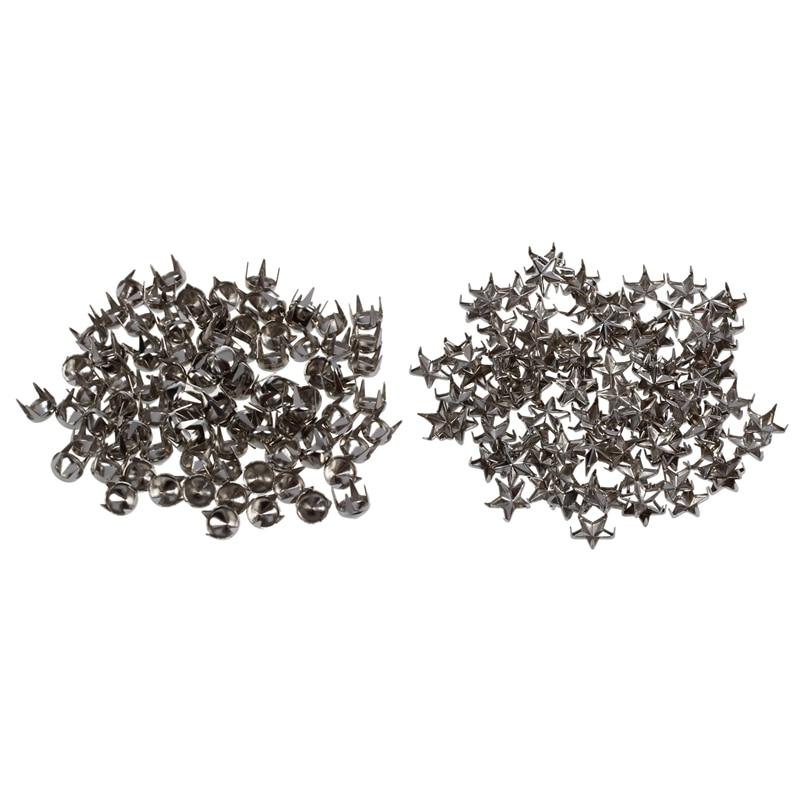 200 Pcs Silver Rivets For Bag Shoes Bracelet: 100 Pcs Pyramids Rivets Gothic Punk Rivets & 100 Pcs 7Mm Star Studs Spots Punk Roc