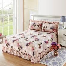 40 gêmeo rainha rei tamanho 3 pçs folha de cama conjunto fronha flor flor superior folha 100% algodão macio respirável folha plana