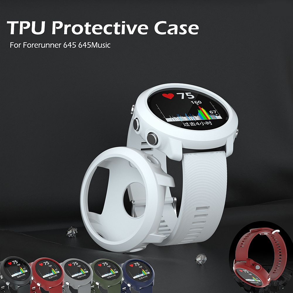 TPU Protector Case Cover For Garmin Forerunner 645/645 Music Bracelet Protective Shell Frame Replacement Protection Cases