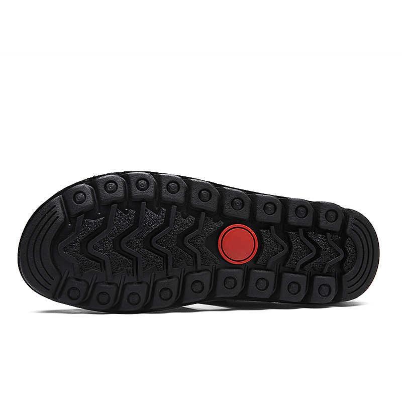 新しいサンダル男性の革の屋外男性のサンダルカジュアルビーチ快適な夏の男性通気性ゴム靴 2020 大サイズ 48