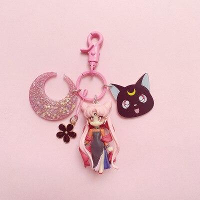 Anime sailor moon senhora preto bonito chaveiro chibiusa luna cosplay menina chaveiro romântico rosa plástico carteira corrente acessórios