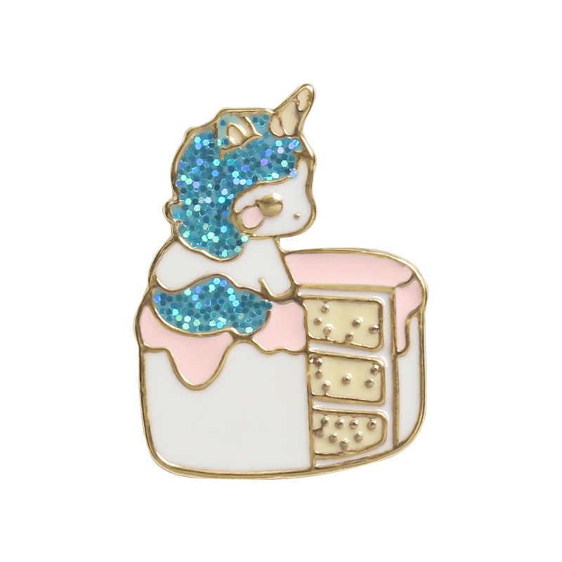 7 Spilli Coreano Del Fumetto Sveglio Della Torta Bunny Unicorno Spille per Le Donne Animali Cibo Distintivi e Simboli Dello Smalto Spilli Sacchetto Dei Monili Bts Accessori
