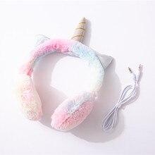 JINSERTA auriculares de unicornios con cable para niños, auriculares de música cálidos con conector de 3,5mm para teléfono inteligente, PC, regalo de cumpleaños para niños y niñas