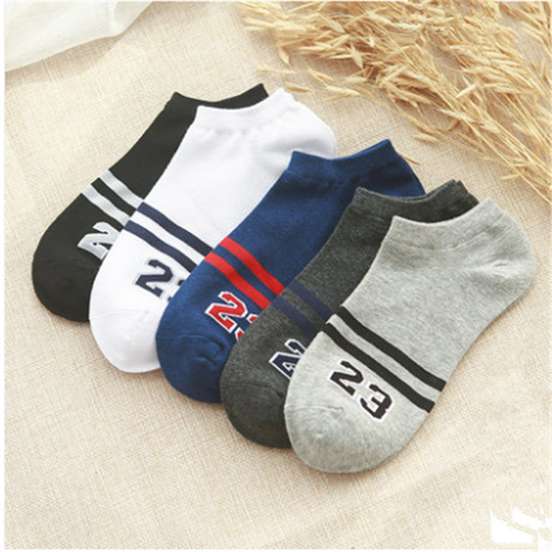 5 Pairs/lot Men Socks Stripe And Number 23 Pattern Boat Sock For Summer Breathable Casual Boys Ankle Socks Socks Slippers