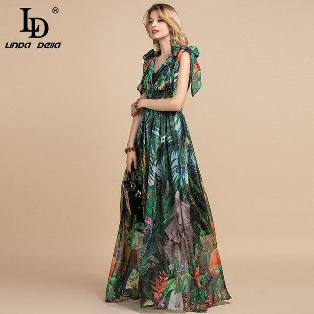 LD LINDA DELLA Summer Fashion Runway Maxi Dress Women's V-Neck elastic Vintage Flowers Print Holiday Boho Long Dress Plus size 2