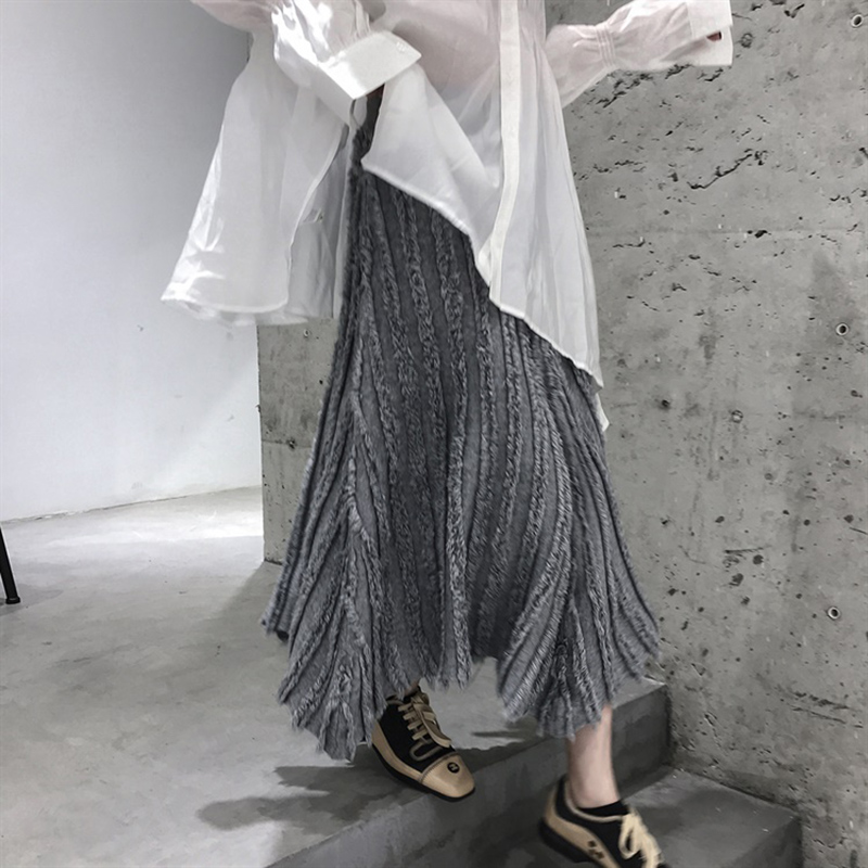 New Vintage Autumn Long Knitted Skirt Women Winter Irregular Harajuku Knit Pleated Skirts Female Streetwear Maxi Faldas Mujer