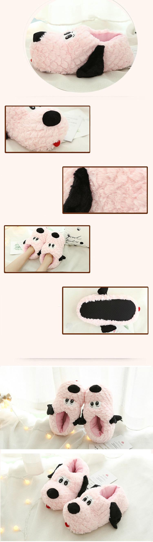 H6823e4c310fe4b47adb44b72e492b5478 Pantufa cão casa sapato para mulheres inverno algodão mulher macio pelúcia dos desenhos animados quente macio slides macios interior antiderrapante senhoras casa chinelos