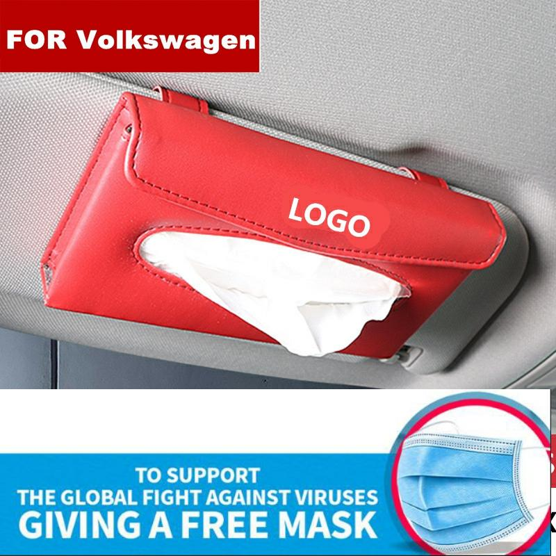New Car Tissue Box Quality Car PU Sunshade Type Pendant Interior Tissue Box For Volkswagen Logo R Mk4 Mk5 Passat B8 B7 B6 Golf 5