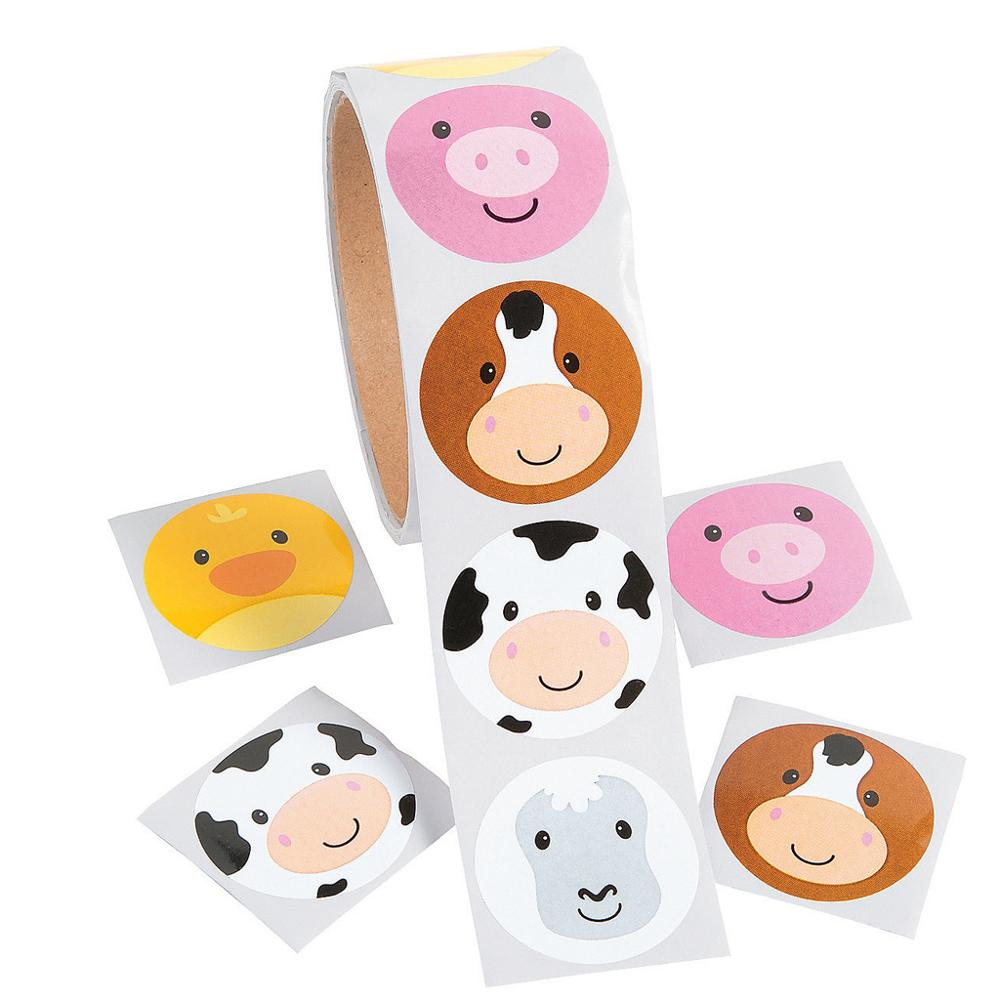 100pcs/1 Roll Reward Stickers Roll Kids Sticker Scrapbooking Farm Pig Cow Duck 3D Cartoon Characters Funny Toys For Children