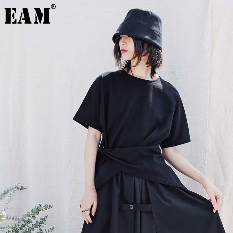 [EAM] Women Black Side Bandage Split Joint Irregular T-shirt New Round Neck Half Sleeve Fashion Tide Spring Summer 2020 1W432 1