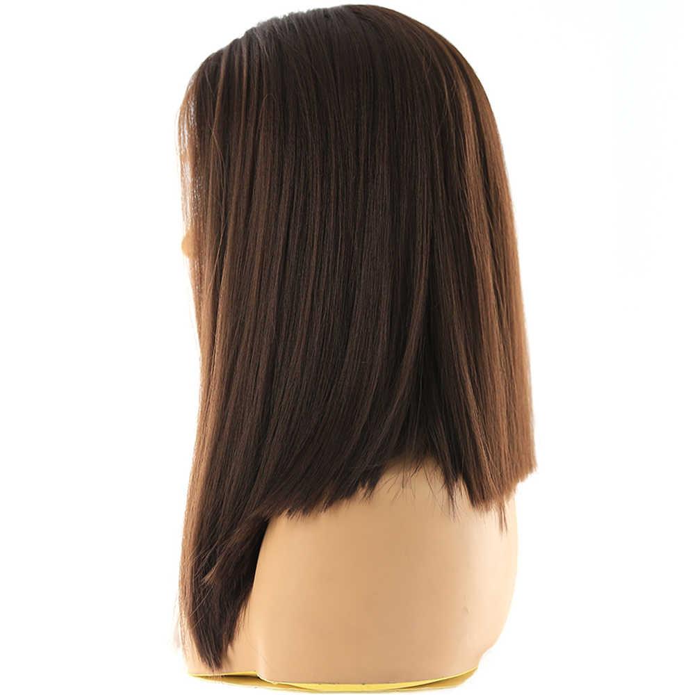 Medium Bruin Synthetisch Haar Lace Front Pruiken Hoge Temperatuur Fiber X-TRESS Yaki Straight Korte Bob Stompe Kant Pruik Middelste Deel