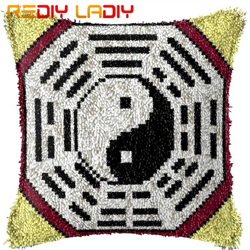 Registro biestable kits con gancho hacer su propio cojín Tai-Chi patrón impreso lona, funda de almohada de ganchillo pestillo cojín de gancho para artes y oficios