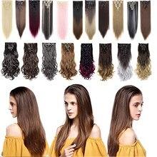Extensions de cheveux multi-couleurs, lot de 8 pièces de 18 Clips, cheveux bouclés, lisses, 24 à 26 pouces, noir foncé