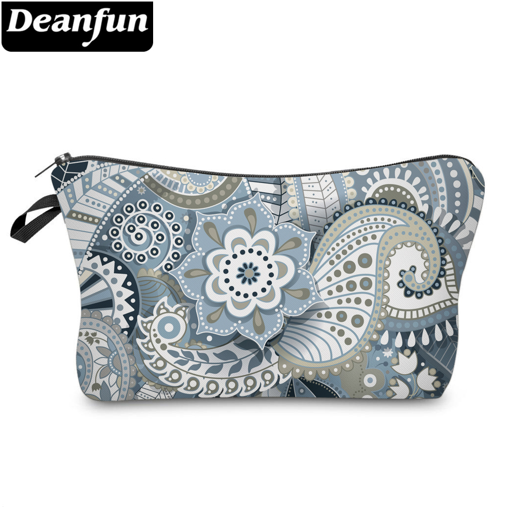 Deanfun Gray Mandala Flower Small Cosmetic Bag 3D Printed Waterproof Polyester Makeup For Women 51559