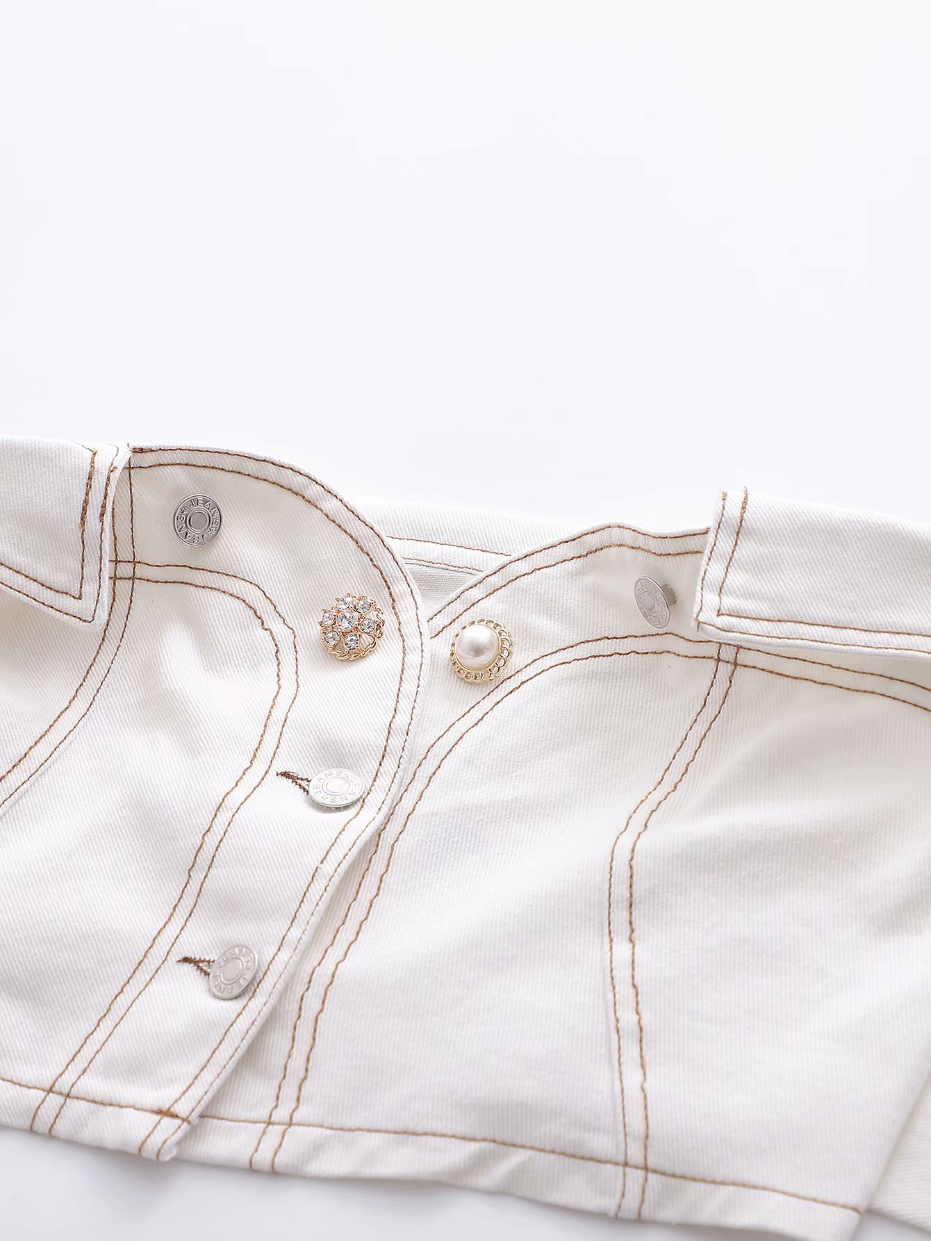 white denim strapless cropped tops pearls button sexy tube tops 2020 summer women tank