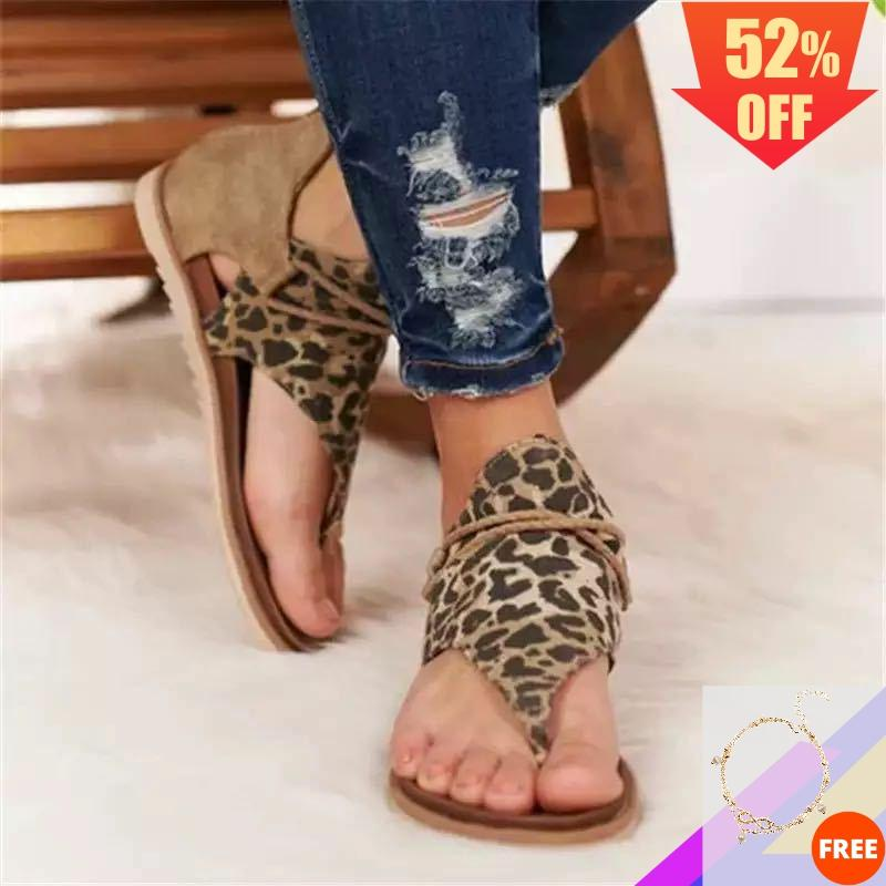 2020 Sandals Women Leopard Sandals Womans Retro Gladiator Zipper Flip-Flop Sandals Ladies Plus Sizes Extra Snakeskin Bohemia Hot