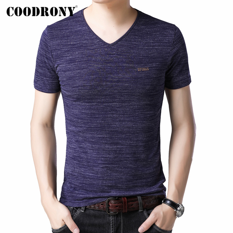 COODRONY Summer Short Sleeve T Shirt Men Fashion Casual V-neck Bottoming T-Shirt Men Clothes Cotton Tee Shirt Homme Tops C5019S