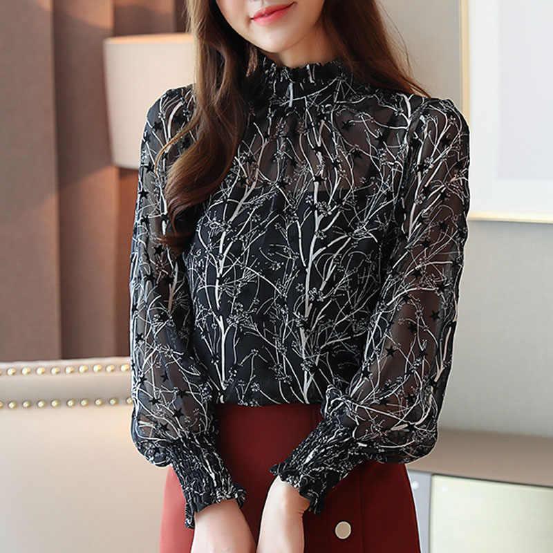 2019 sonbahar moda kadınlar şifon bluzlar rahat standı yaka çiçek kadınlar uzun kollu giyim baskılı gömlek kadın üstleri 6197 50