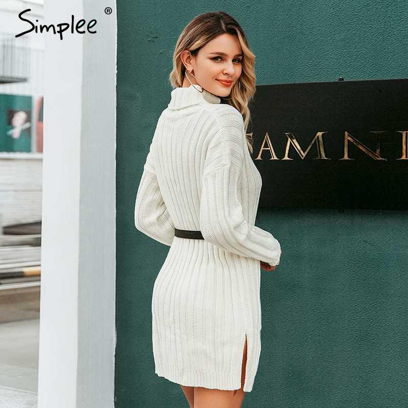 Simplee エレガントなニットドレスの女性の秋タートルネック女性白のセータードレスセクシーなホリデー固体女性冬ティール vestidos