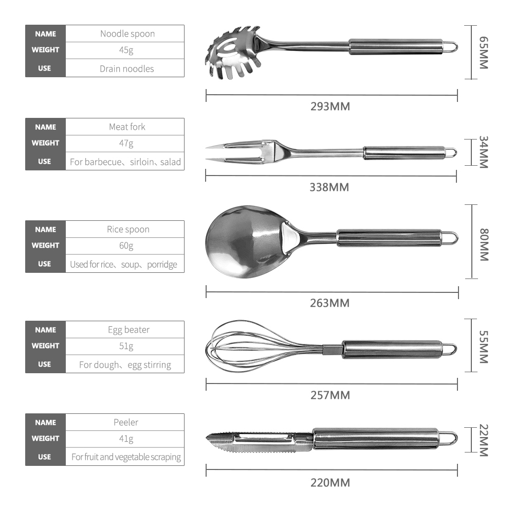 Letcase Stainless Steel Cooking Utensils Set