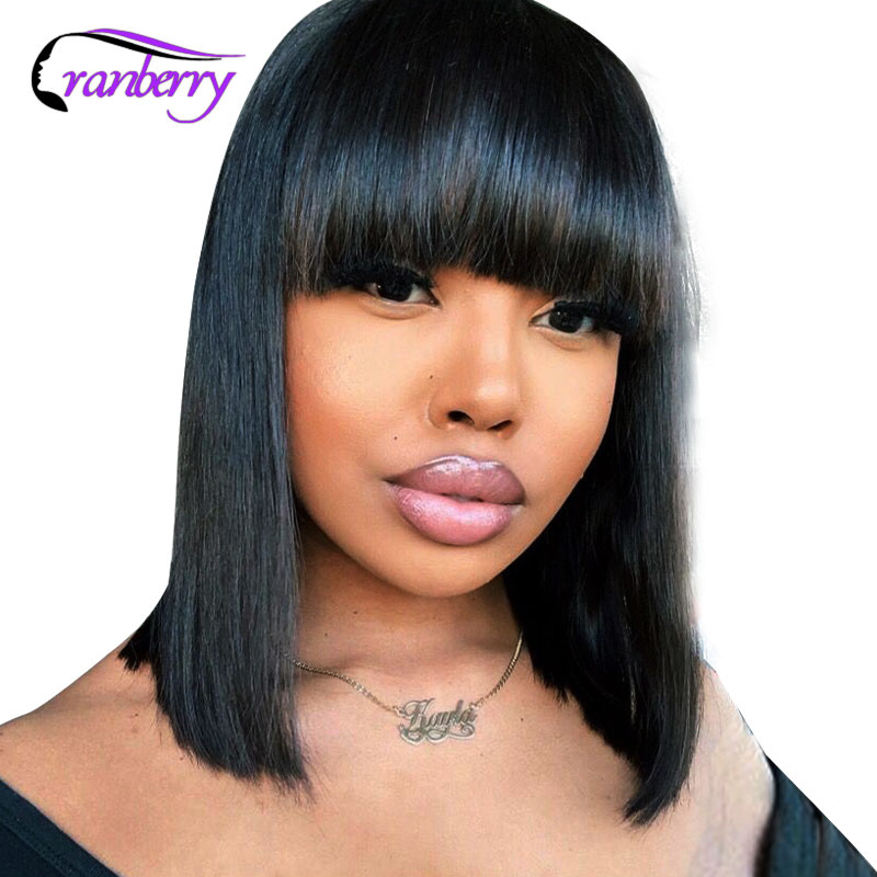 Straight Bob Human Hair Wigs With Bang Pre Plucked Peruvian Remy Human Hair Bob Wig With Bangs Pixie Cut Wigs Full Machine Wig