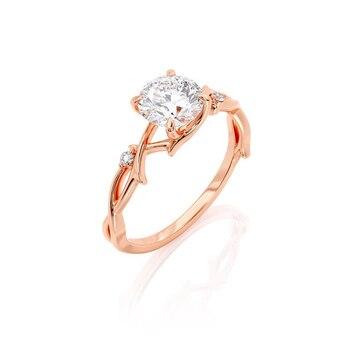 GUYINKU 14k 585 Rose Gold 1ct 6.5mm EF Color Moissanite Trendy Engagement Ring Set for Women Wedding Gift 3