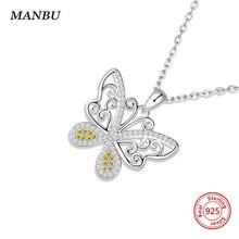 MANBU Butterfly Cute Pendant Necklace for women 100%Sterling Silver Charm Zircon Jewelry Ladies