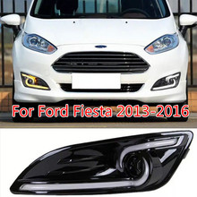 цена на Car Flashing 2Pcs LED Daytime Running Light For Ford Fiesta 2013 2014 2015 2016 Fog lamp cover with Yellow Turning signal Lights