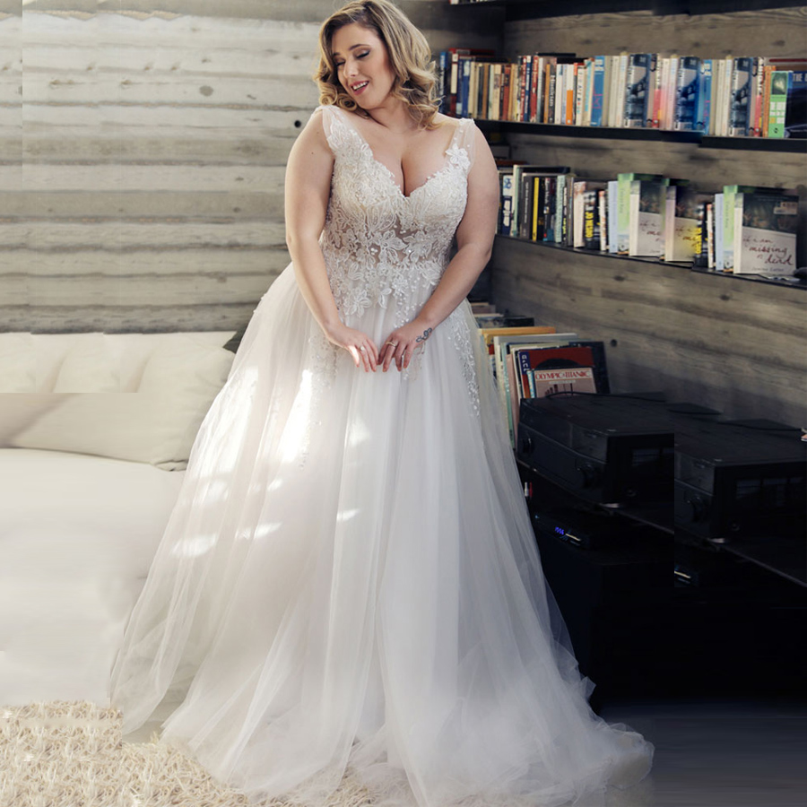 Sexy Plus Size Wedding Dresses Bridal Gown Deep V-neck Sleeveless Beading Applique Tulle A-line Wedding Dress Vestido De Noiva