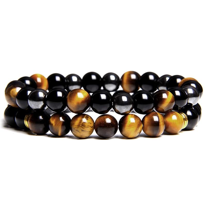 2pcs Men Bracelets Beads Natural Stone Black Onyx&Tiger Eye&Hematite Stone Bracelets for Women Men No Magnetic Bracelet