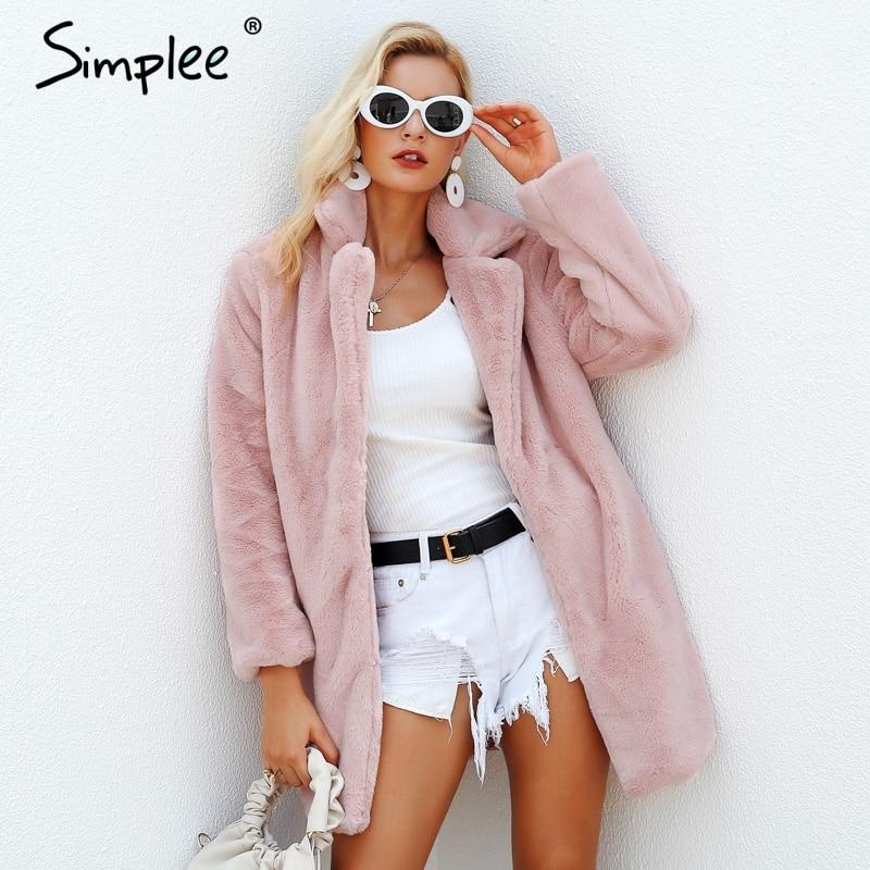 Simplee Elegant Pink Shaggy Women Faux Fur Coat Streetwear Autumn Winter Warm Plush Teddy Coat Female Plus Size Overcoat Party