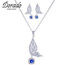 Dorado novo luxo zircão borboleta gota brincos pingente colar conjunto para moda feminina clavícula corrente presentes jóias aniversário
