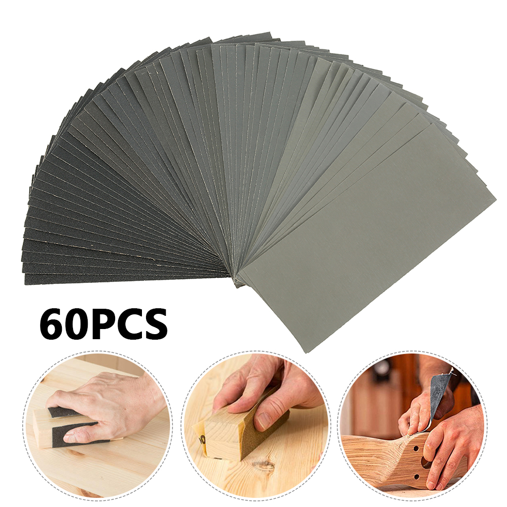 60pcs Wet Dry Sandpaper 120 To 3000 Grit Assortment Abrasive Paper Sheets For Automotive Sanding Wood Furniture Finishing