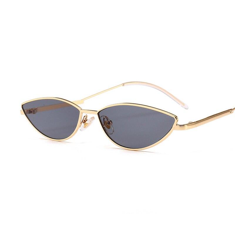 Cat Eye Oval Sunglasses Women Vintage Brand Small Metal Frame Black Color Eyewear Shades For Female Fashion Designer Lunette