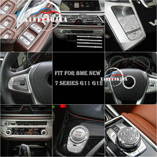 Fit For BMW 7 Series G11 G12 16 19 Silvery Crystal Multimedia Button Case/Ignition Engine Start Cover/AC Switch Knob Cover Trim