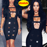 Black bodycon dresses for women party night sexy outfits knee cocktail vestidos de mujer white bandage dress