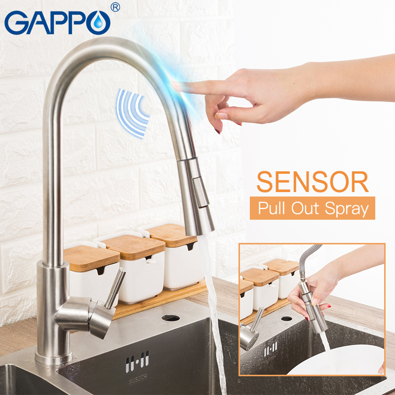 GAPPO Stainless Steel Touch Control Kitchen Faucets Smart Sensor Kitchen Mixer Touch Faucet for Kitchen Pull Out Sink Taps-in Kitchen Faucets from Home Improvement