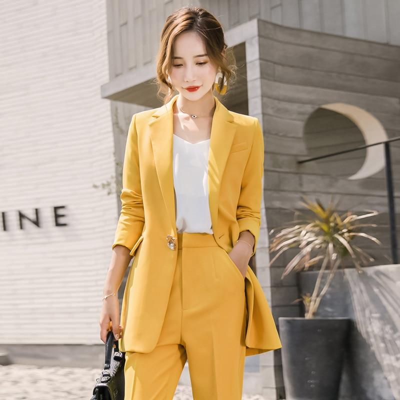 High quality ladies yellow suit 2019 autumn fashion professional pants suit large size Slim long blazer Women's suit two-piece